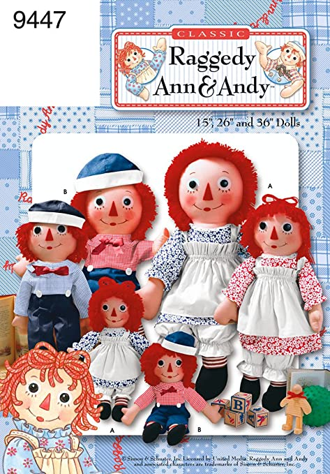 Simplicity Sewing Pattern 9447S One Size Raggedy Ann and Andy Dolls ...