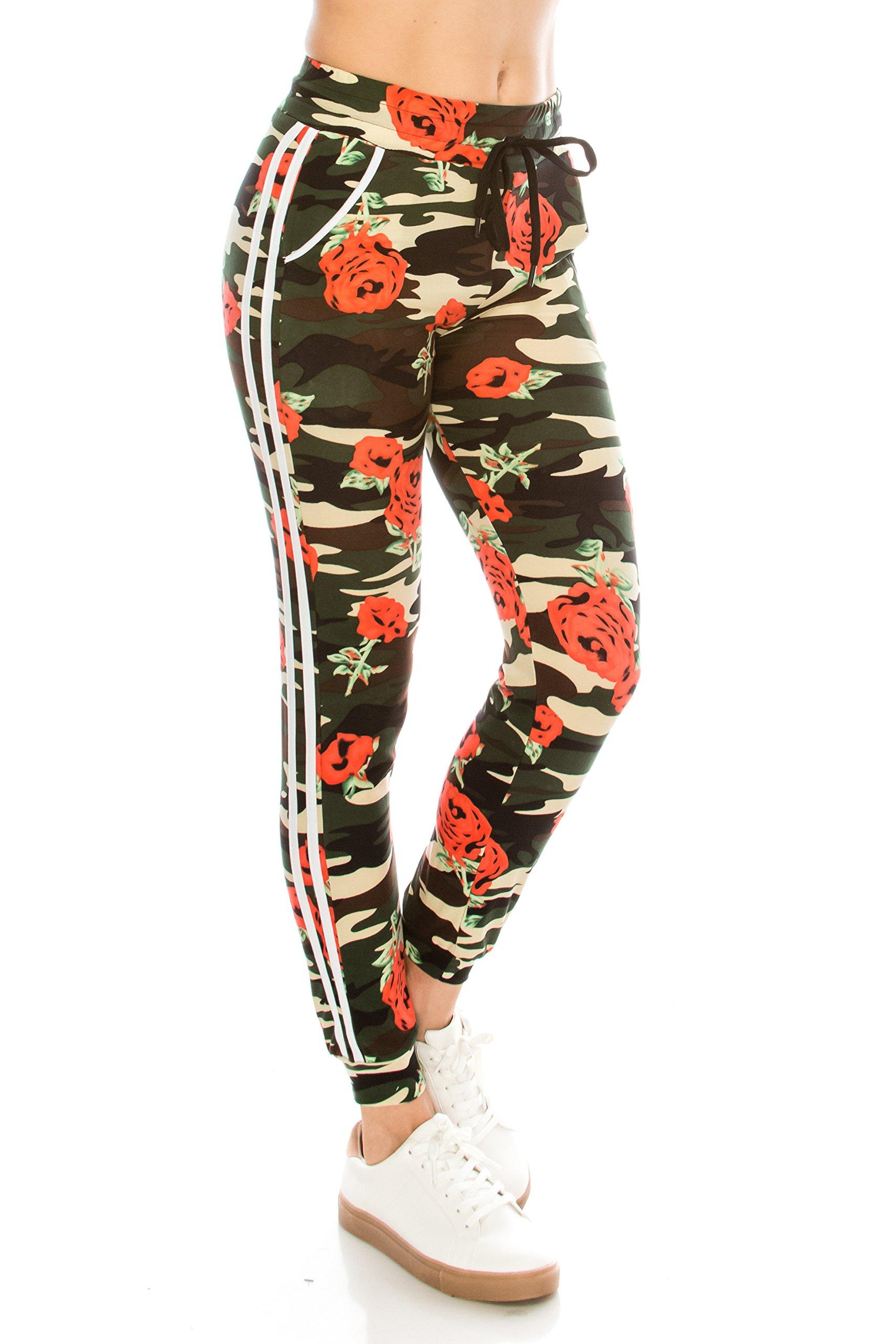 ALWAYS Women Drawstrings Jogger Sweatpants - Skinny Camo Soft Pockets Pants L/XL