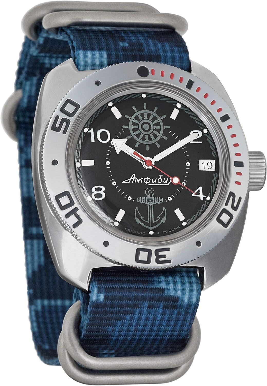 Vostok Amphibian Automatic Mens Wristwatch Self-Winding Military Diver Amphibia Case Wrist Watch 710526