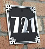 House Address Plaque in the Art Deco Style. Hand Made in England Personalised With Your house Number in Solid Cast Aluminium (Black)