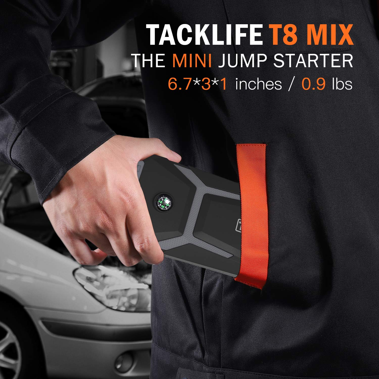 Portable Power Pack with Dual Quick-charge all gas, up to 6.5L diesel engines TACKLIFE T8 MAX Jump Starter 12V Car Battery Booster 1000A Peak 20000mAh 5 LED Light Modes UBS Input