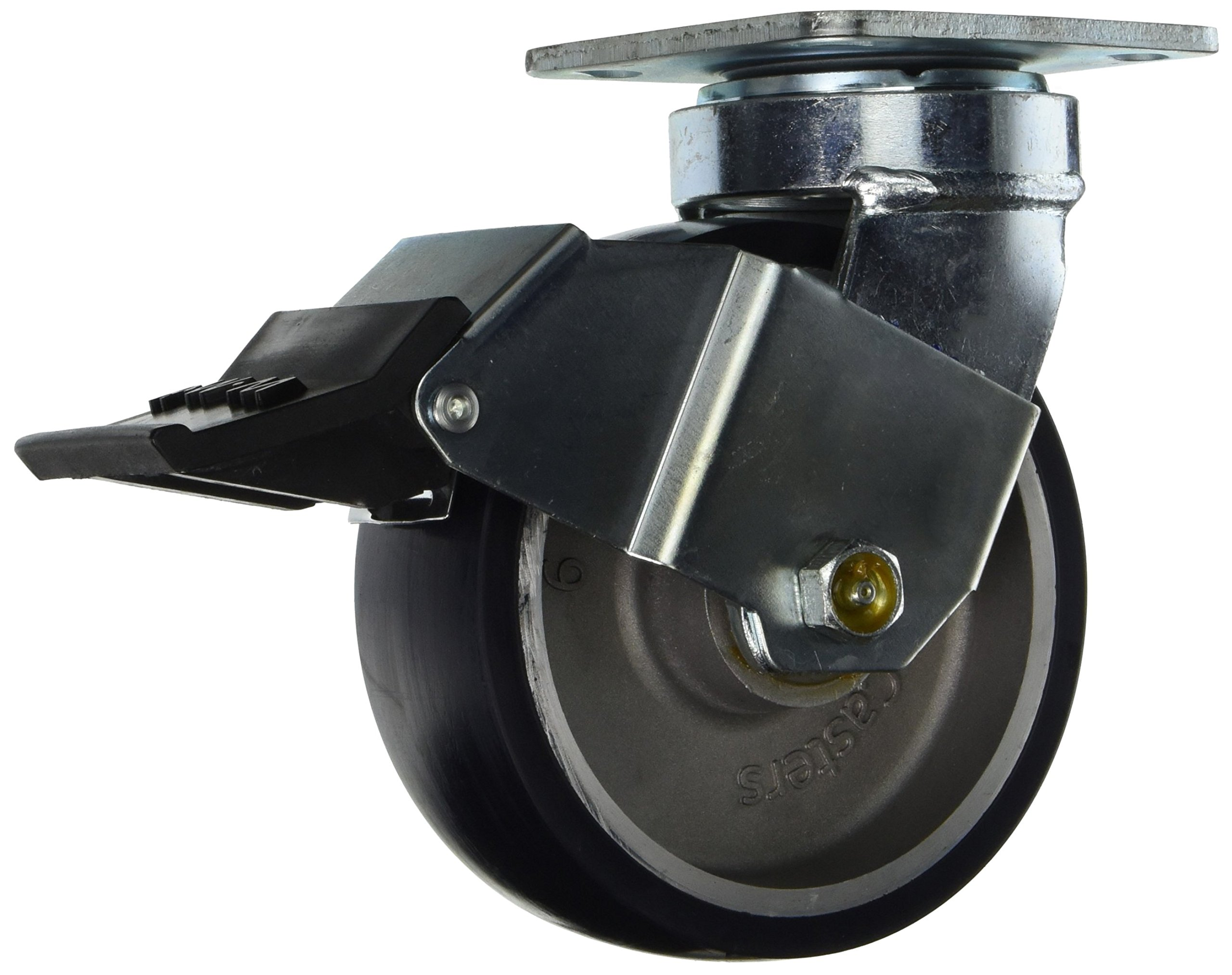 RWM Casters 48-UAR-0620-S-ICWB 48 Freedom Series 7-1/2'' High, 6'' Urethane on Aluminum Wheel with Installable Face Contact Brake, Swivel Caster