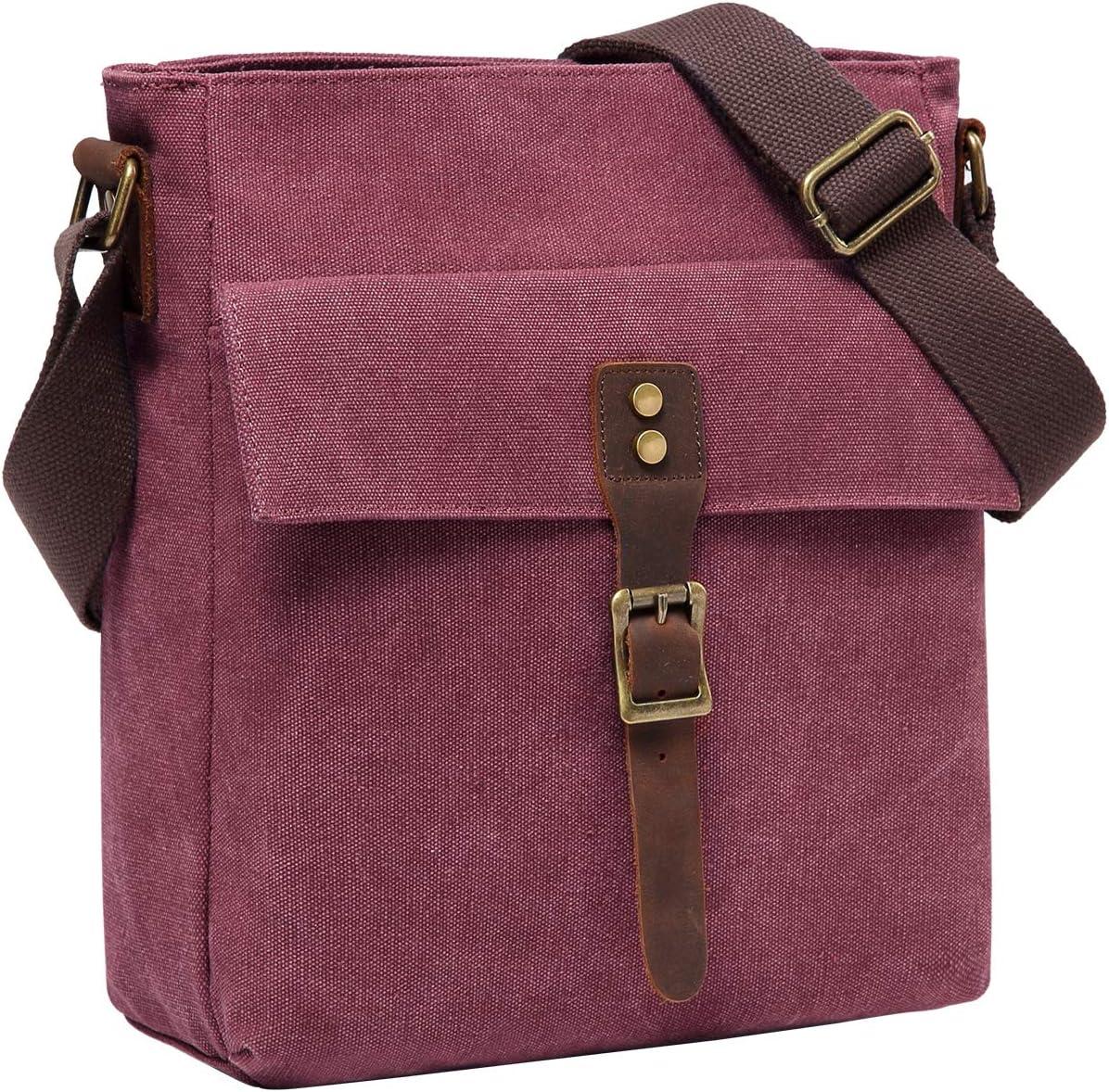 Small Messenger Bag for Women, Kasqo Vintage Canvas Leather Lightweight Shoulder Crossbody Bag Wine Red