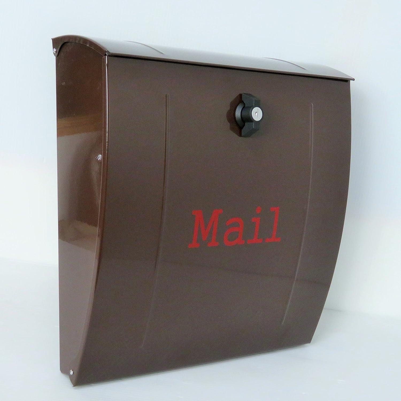 郵便ポスト郵便受け北欧風大型メールボックス 壁掛けプレミアムステンレスブラウン色ポストpm022 B018NNXHTG 12880