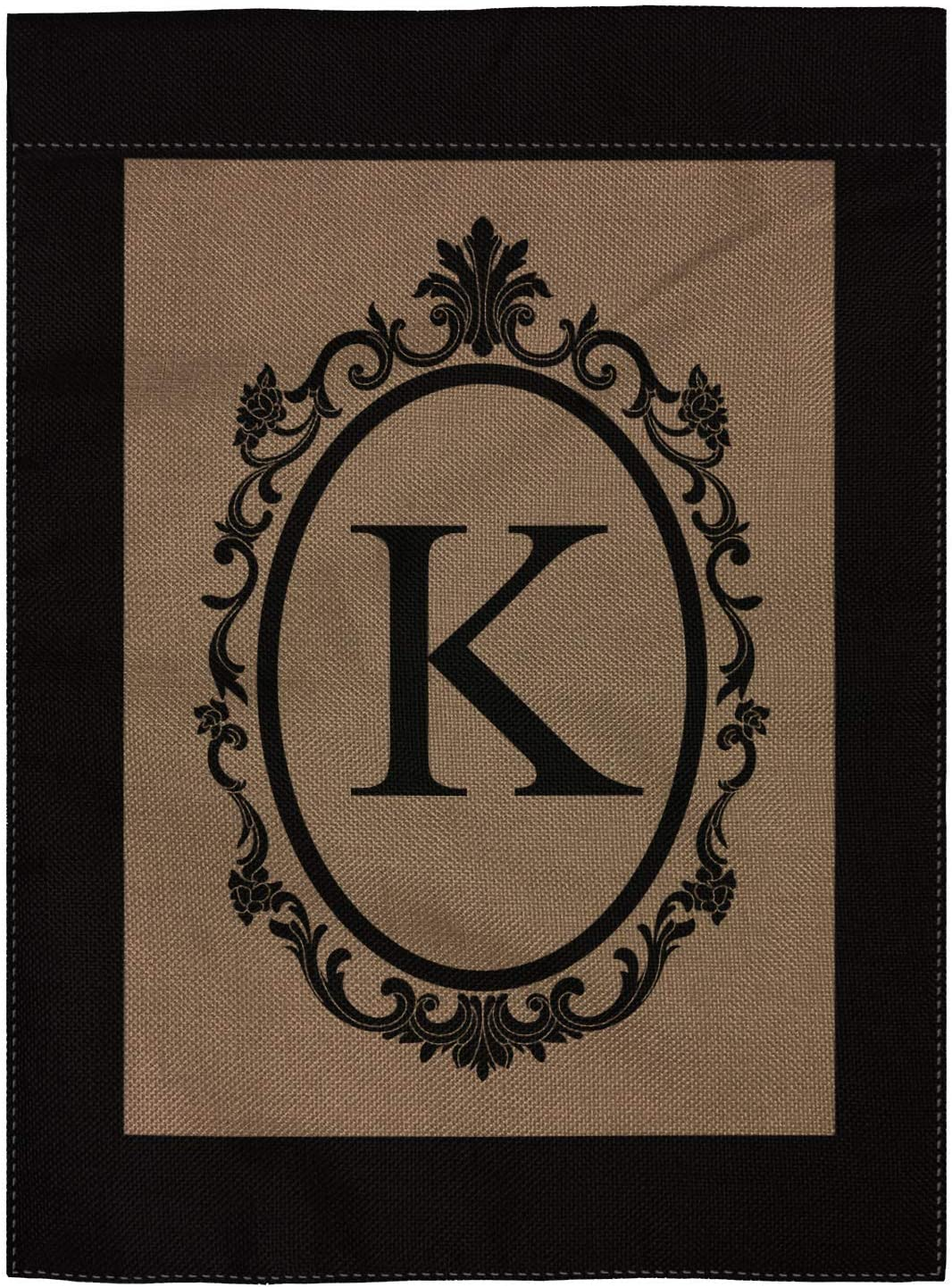 "pingpi K Monogram Double-Sided Burlap Garden Flag - 12.5"" W x 18"" H"
