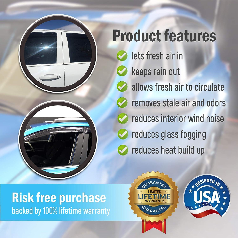 AirSleek Window Deflectors Rain Guards 2015-2019 Ford F150 F250 F350 Super Crew Cab F-150 F-250 F-350 Side Door Wind Deflectors Tape-On Mount