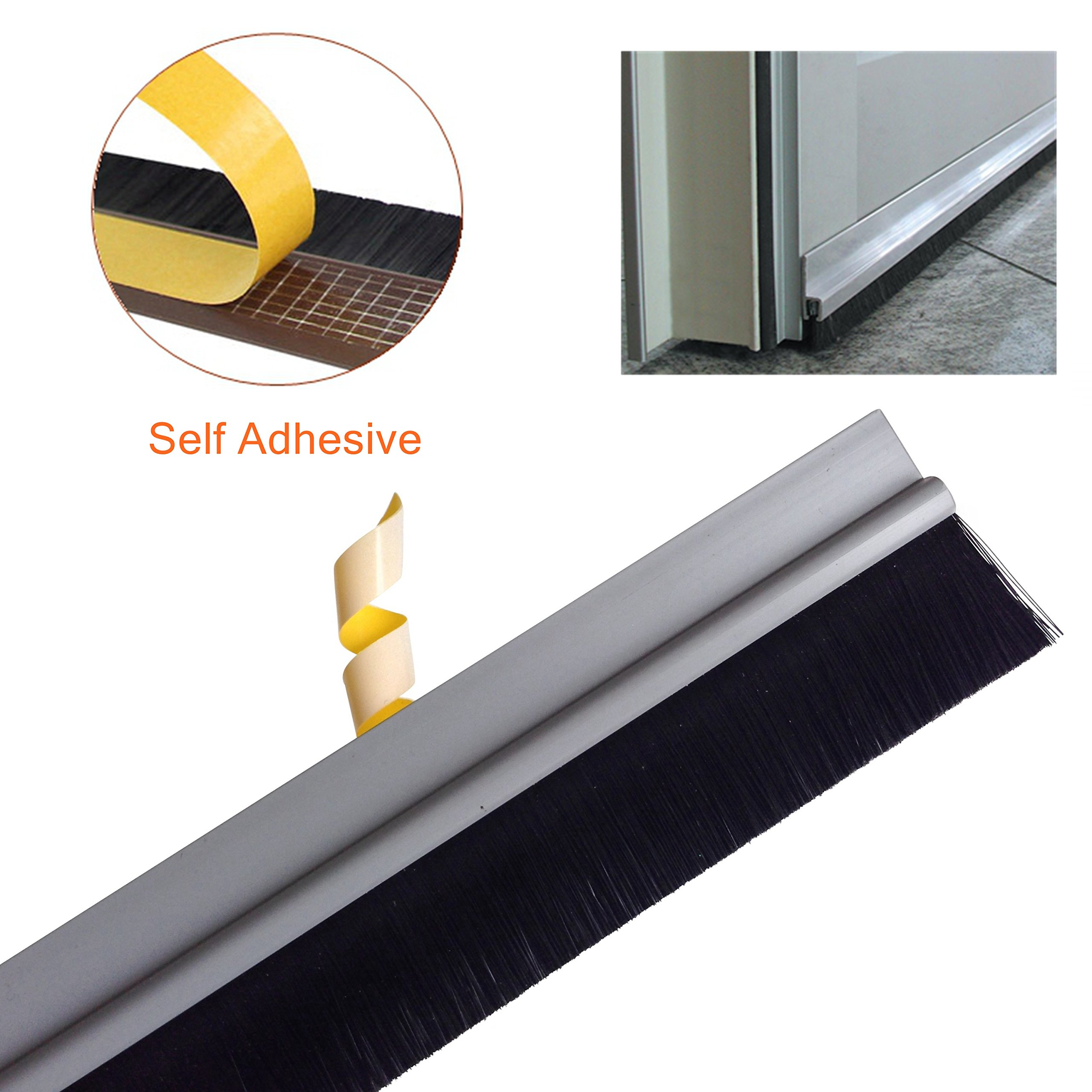 Loobani Aluminum Under Door Bottom Sweep Self Adhesive Seal Strip Draft Excluder Stopper Weather Stripping, 39'' Long X 1.85'' Width Including Brush Height 0.98 Inch