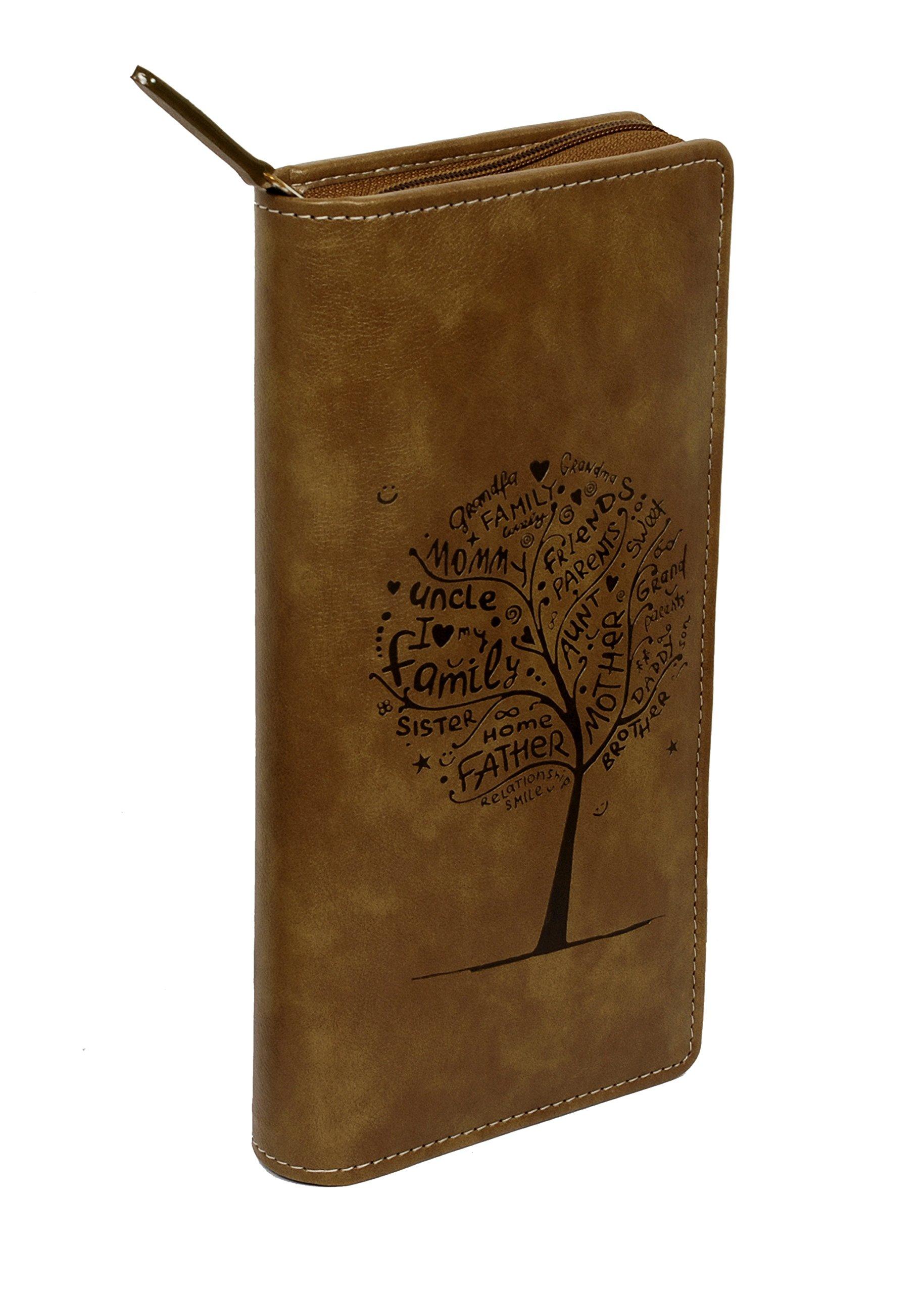 Sukeshcraft Tree. RFID Safe Passport Wallet- 8 Slots, (Light Brown)