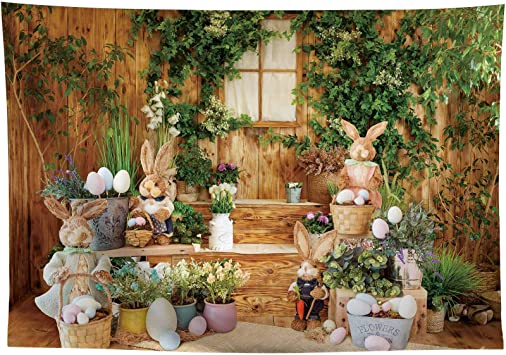 New 7x5ft Easter Photo Backdrop for Kids Photography Brown Wood Wall Bunny Decor Spring Background Baby Children Portrait Photoshoot Props