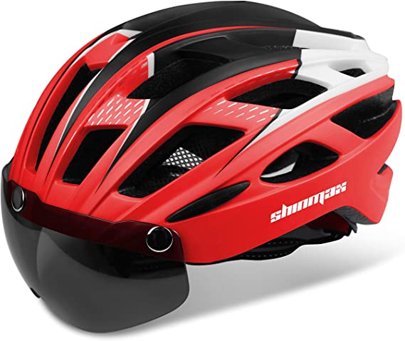 Shinmax Casco Bici con Luce di LED,Certificato CE, Casco con Visiera Magnetica Staccabile