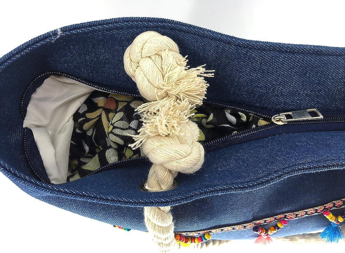 We We Denim Jeans Beach Bag Handmade Duffel Bag Boho Demin Tote Shoulder Bag with Tassels