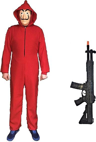 Disfraz De Ladrón Fusil Compuesto De Mono Rojo Máscara Y Fusil De Asalto Varias Tallas También De Niño Amazon Es Ropa Y Accesorios