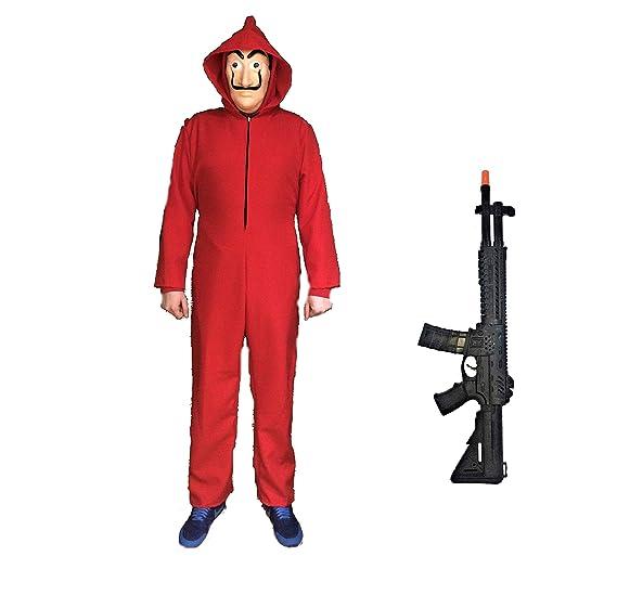 Disfraz de Ladrón + Fusil, inspirado en La casa de papel. Compuesto de Mono rojo, Máscara y Fusil de Asalto. Varias tallas, también de niño.