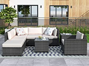 Merax 8 Pieces Grey Rattan Patio Furniture Sets, Outdoor Wicker Sectional Seating Group with 2 Coffee Tables and 4.7'' Thick Beige Cushions