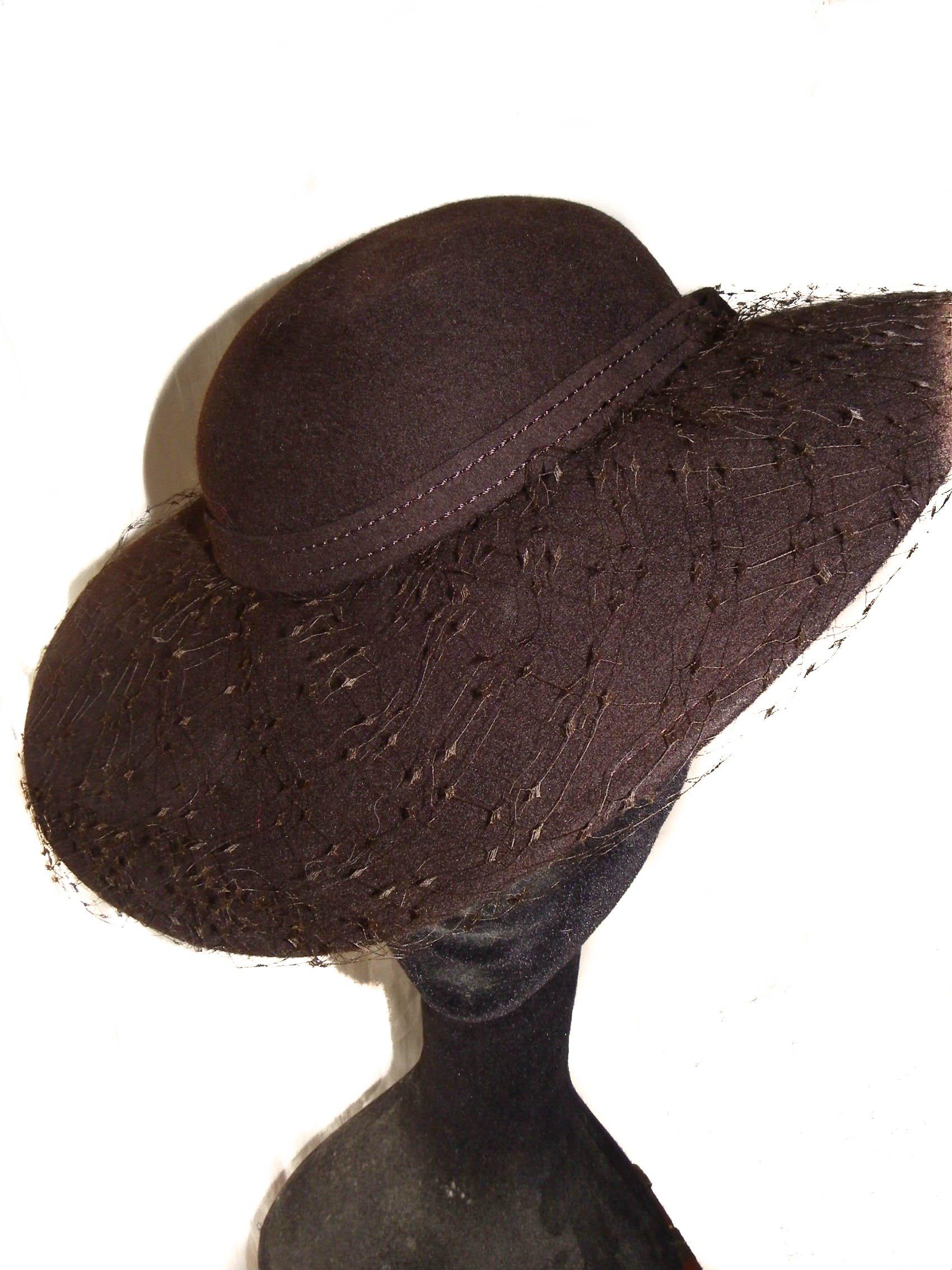 Wool Felt Fascinator In Chocolate Brown With Veil