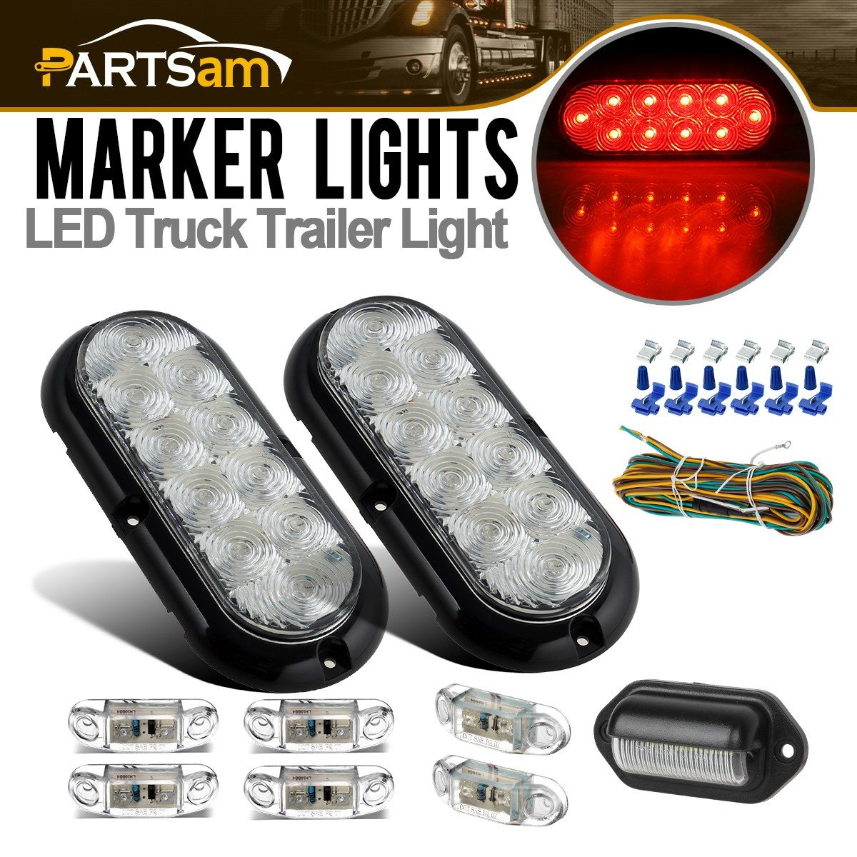 Partsam Submersible LED Trailer Light kit, 6'' Oval Clear/Red 10LED Stop Turn Tail Brake Lights, 6Pcs 2.57'' Mini Oval Led Marker Clearance Lights, License Plate Lamp 6-3528-LED, 4-way Wire Harness by Partsam