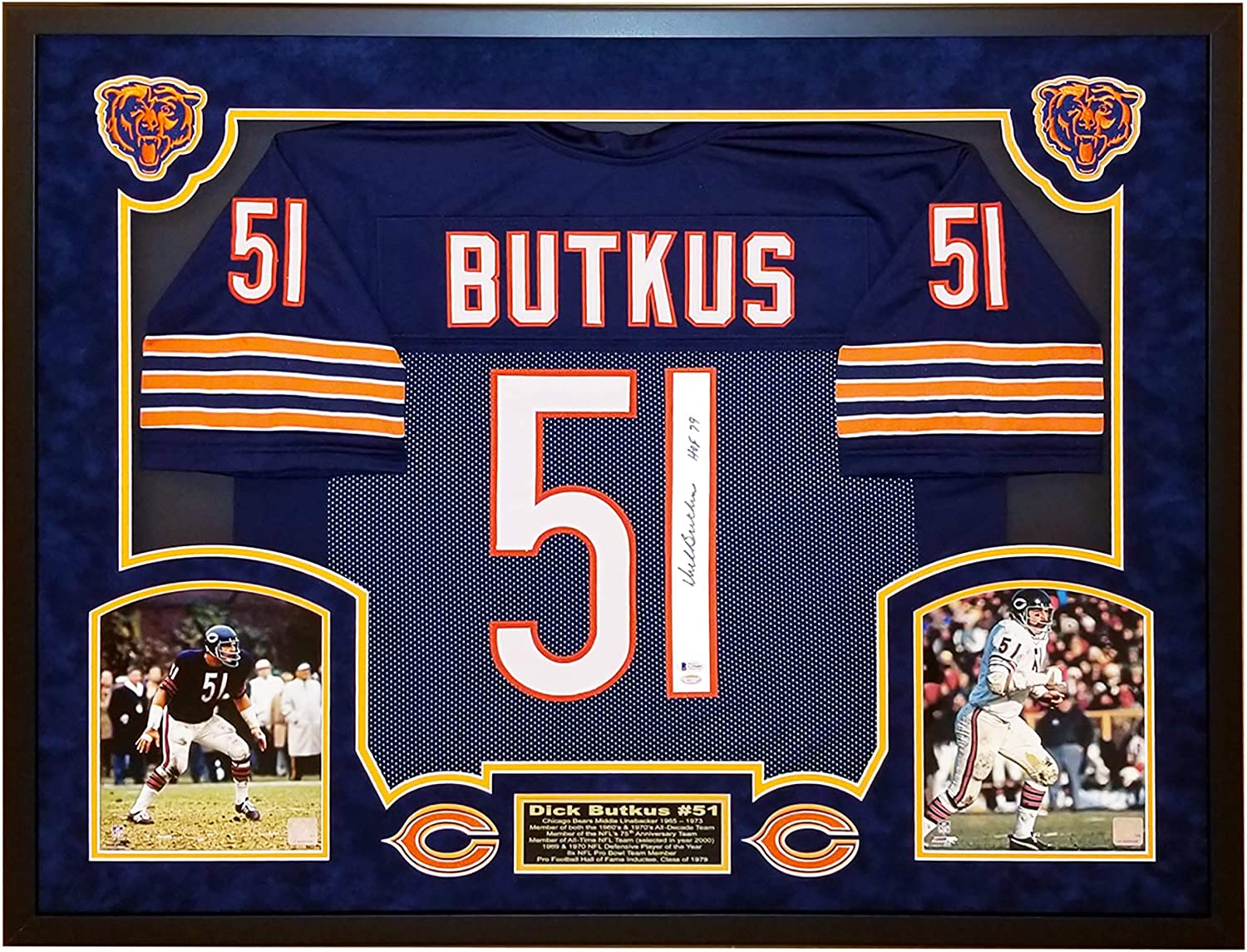 Dick Butkus Autographed Bears Jersey - Premium Suede Matted and ...