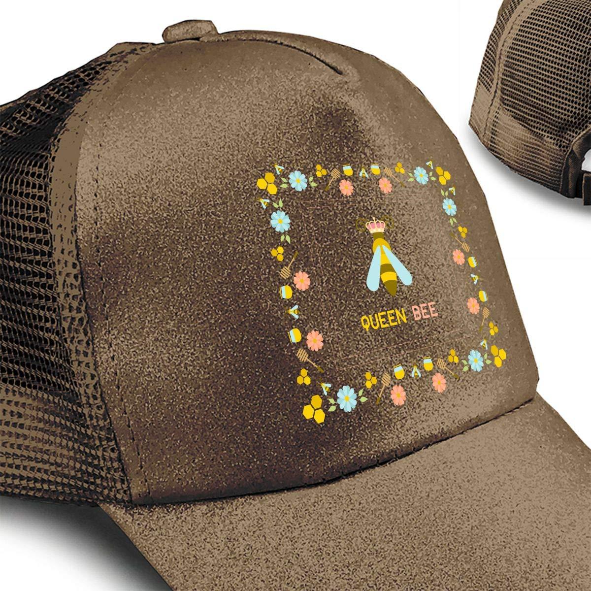 Vintage Beehive Life is Better with Queen Bee Ponytail Messy High Bun Hat Ponycaps Baseball Cap Adjustable Trucker Cap Mesh Cap