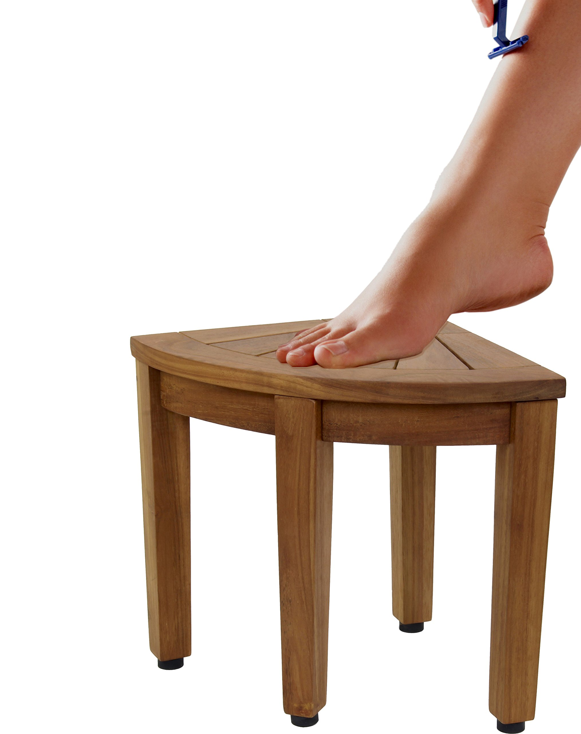 AquaTeak 12'' Kai OptiAREA Corner Teak Shaving & Washing Foot Rests