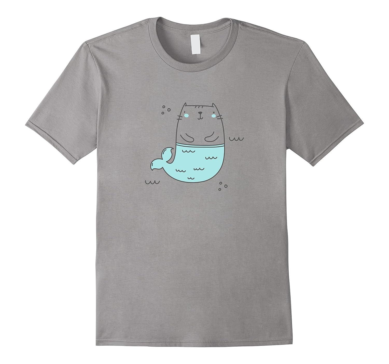 MerKitty Mermaid Cat Girls Shirt Blue – TeePlus