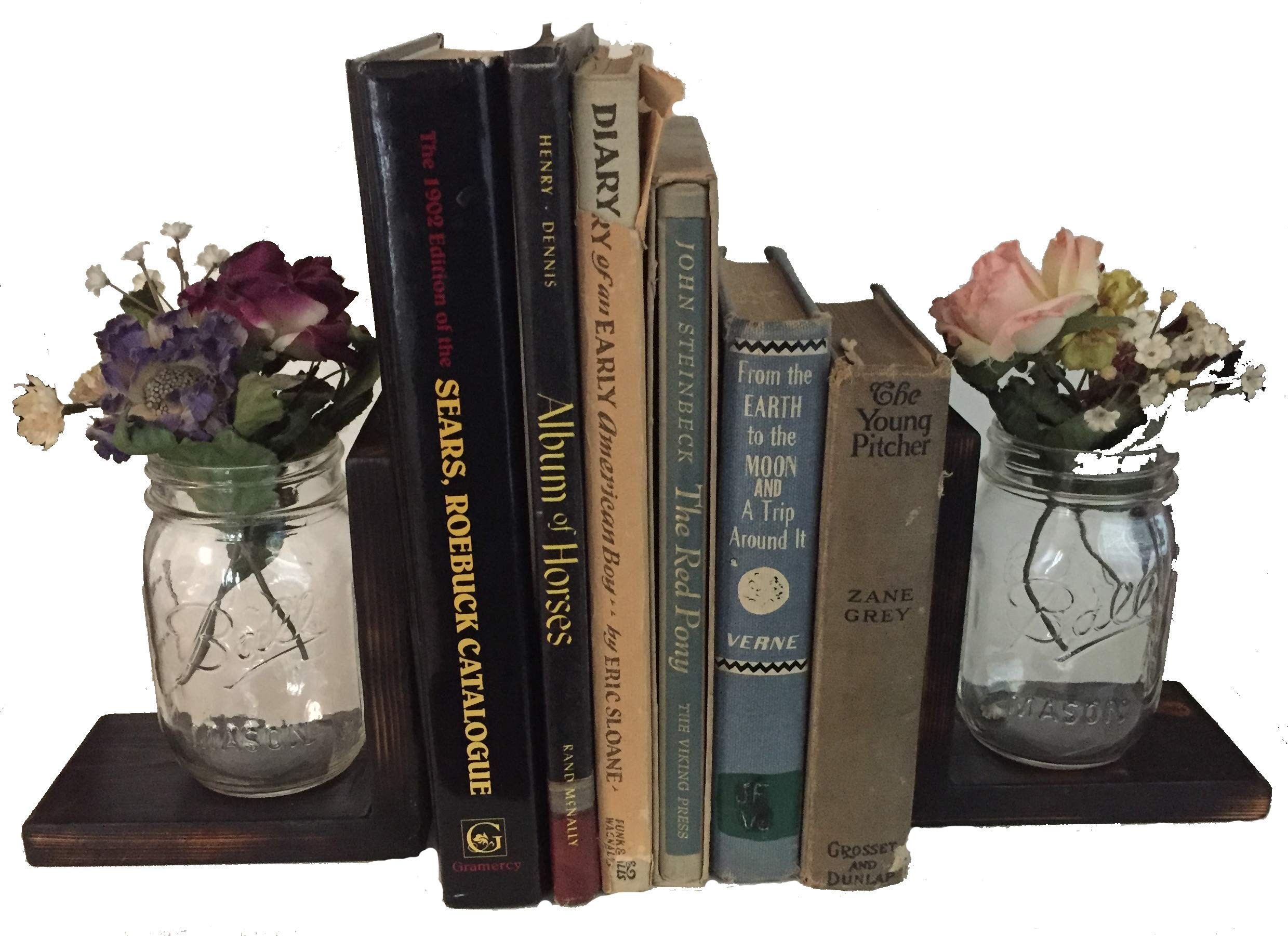 Mason Jars & Rustic Wood Tabletop Bookends, Set of 2