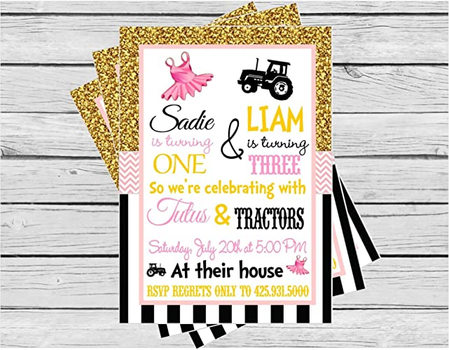 Image Unavailable Not Available For Color Tutus And Tractors Birthday Invitation