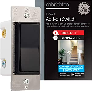 GE Enbrighten Add-On Switch with QuickFit and SimpleWire, GE Z-Wave/GE Zigbee Smart Lighting Controls, Works with Alexa, Google Assistant, NOT A STANDALONE SWITCH, Black, 47186