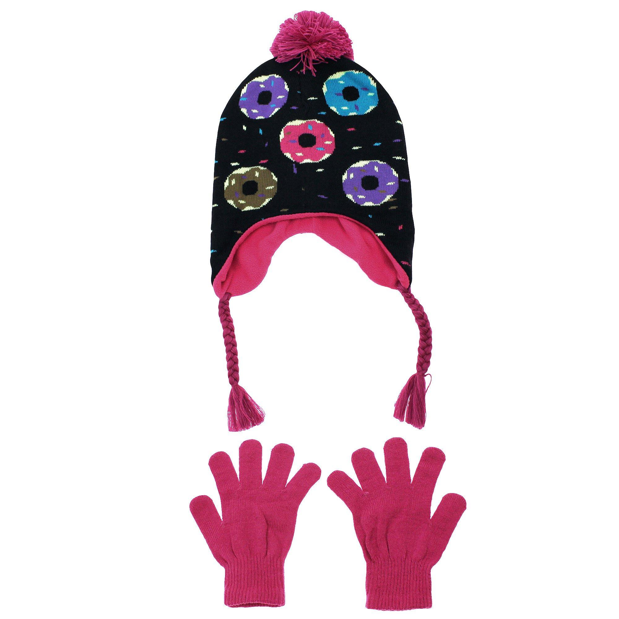 Nolan Girl Peruvian Fleece Lined Winter Hat with Doughnuts | Donut Black Pink 4-14