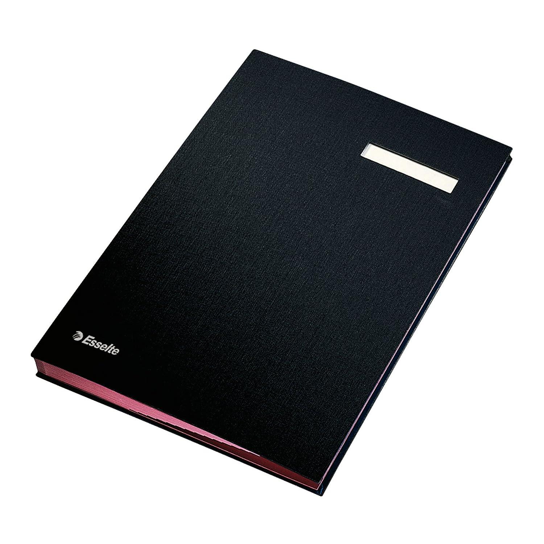 Esselte 621061 Libro firma, 20 separatori in cartoncino, Copertina rigida, Nero