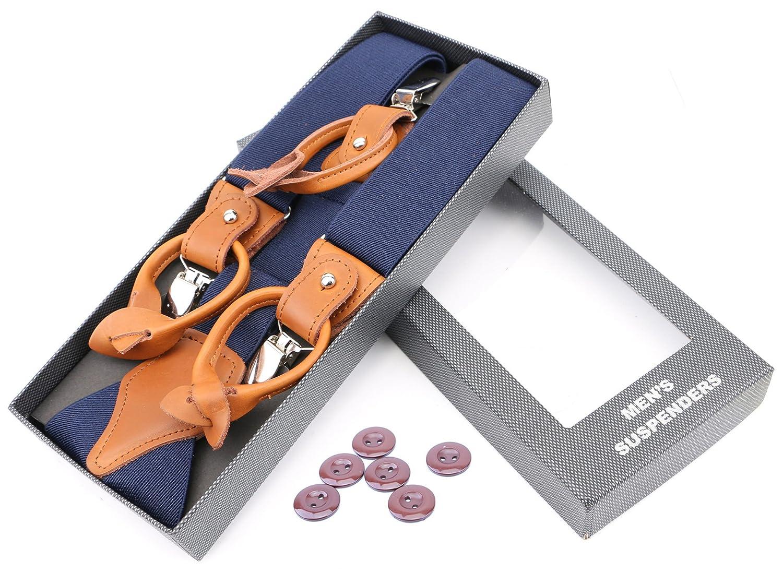 RIONA Mens Y-Back Adjustable Strong Clips /& Leather Button End Soild Dress Suspenders Braces