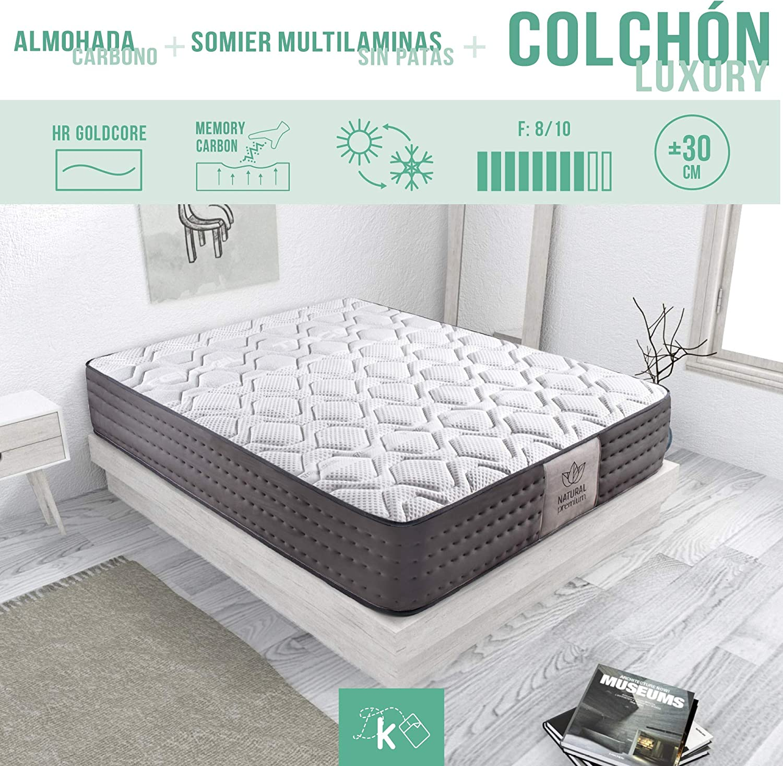 Dreaming Kamahaus Pack Somier Multiláminas + Colchón Luxury Visco Tencel + Almohada Carbono | 80 x 190 cm: Amazon.es: Hogar
