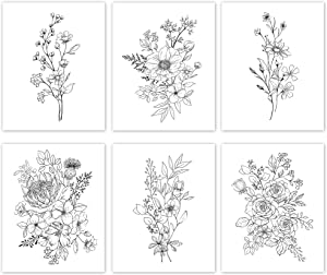 SL Design Black and White Prints, Botanical Wall Art Prints 11x14 UNFRAMED, Aesthetic Poster for Bedroom, Flower Drawing, 6 Set Farmhouse Wall Decor, Floral Living Room Posters