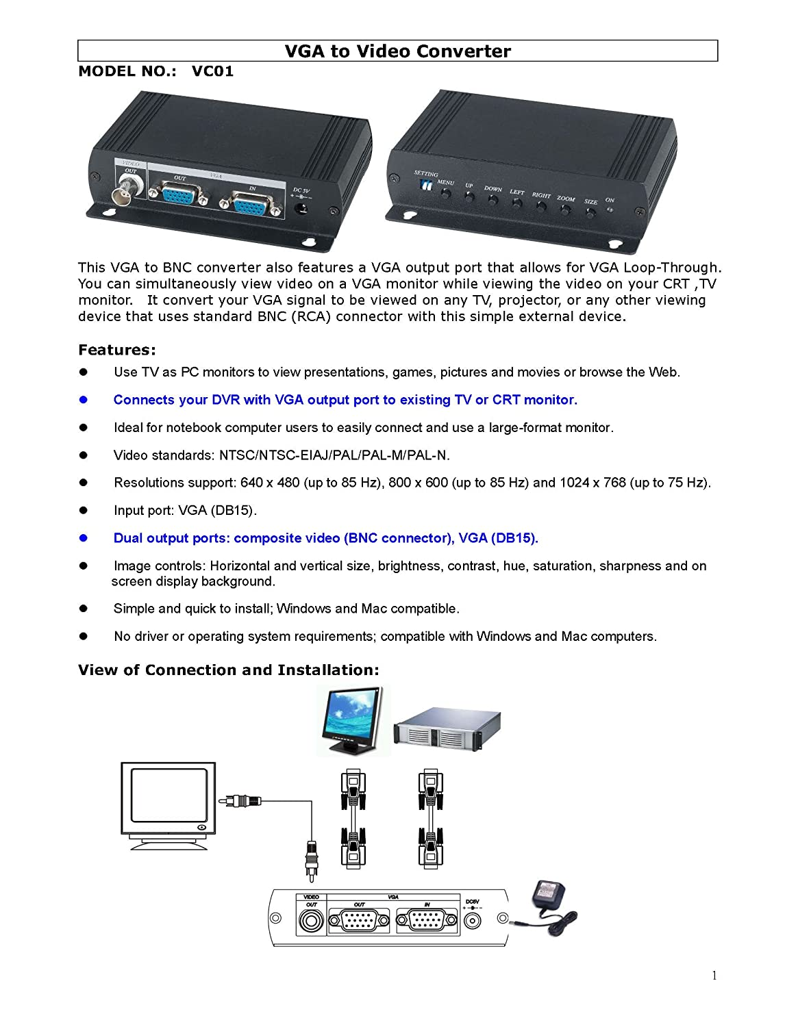 Surprising Amazon Com Vga To Composite Video Bnc Converter Dual Output To Wiring Digital Resources Indicompassionincorg
