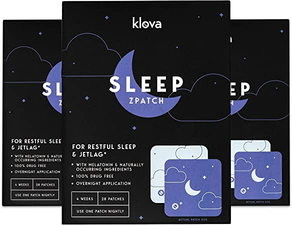 Klova Sleep Patch with Melatonin and Natural Ingredients Promotes restful Sleep and eliminates Jet lag (3 Pack (84 Patches))