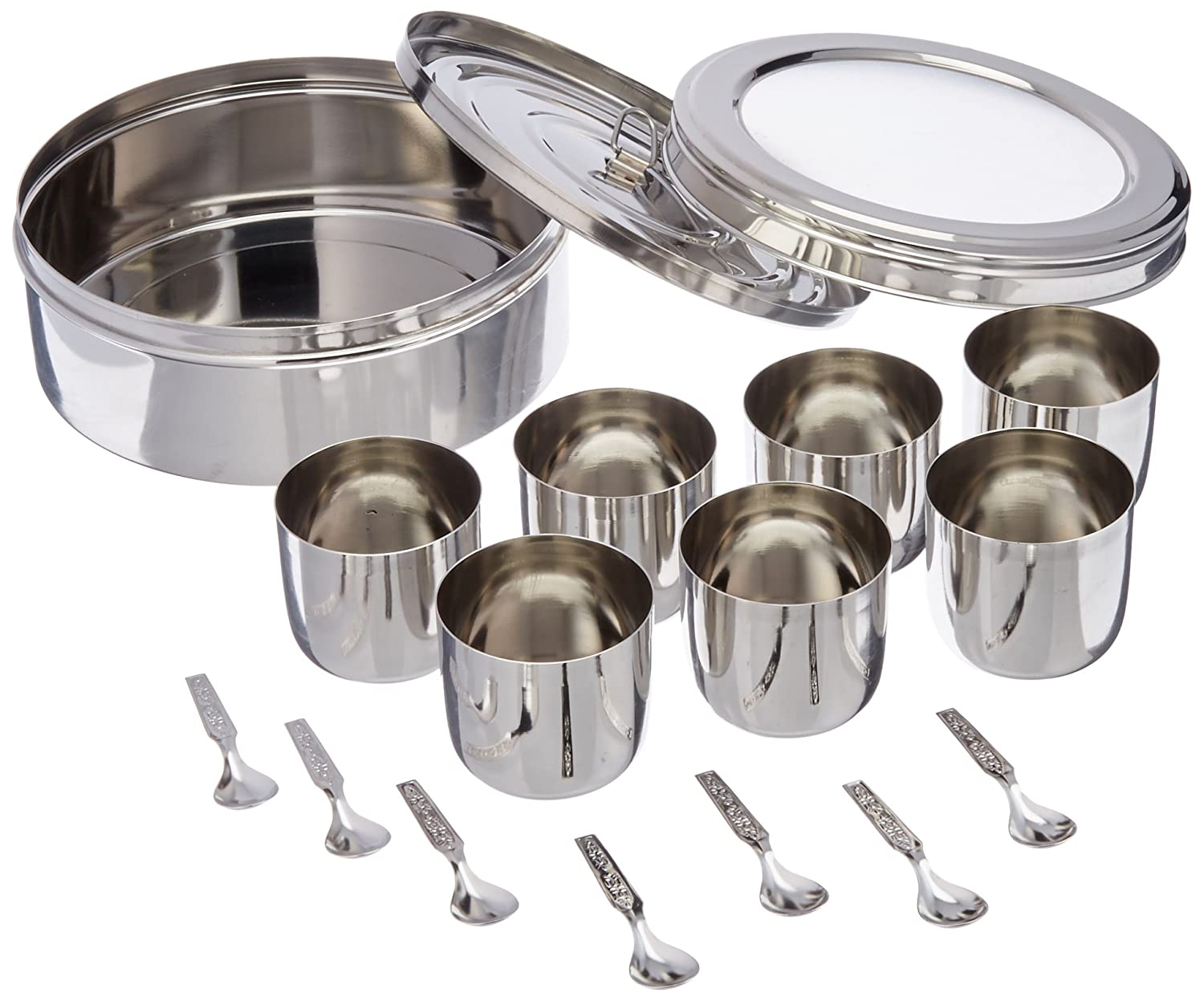 Tabakh Spice Container Masala Dabba - 7 Spoons - Clear Lid (Stainless Steel) MD-AC