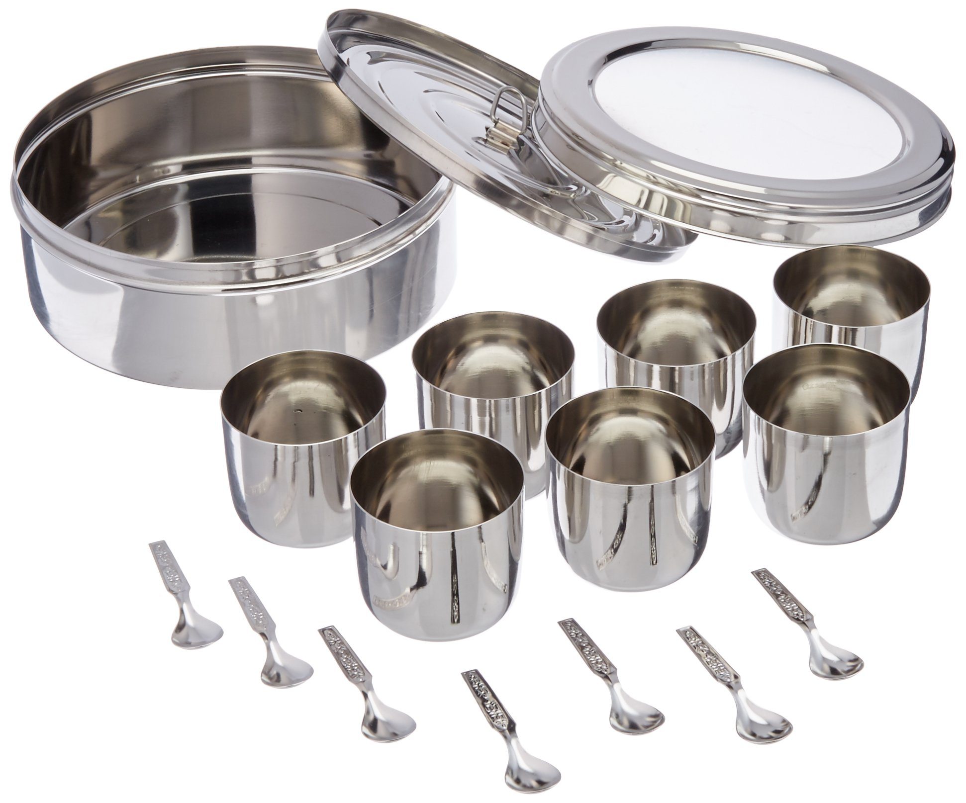 Tabakh Spice Container Masala Dabba - 7 Spoons - Clear Lid (Stainless Steel)