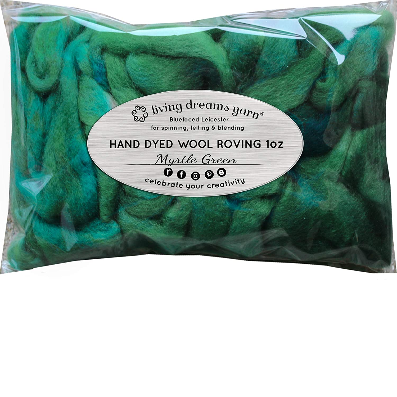 Wool Roving Hand Dyed Artisanal Craft Fiber ideal for Felting 1 Ounce Weaving Super Soft BFL Combed Top Pre-Drafted for Easy Hand Spinning Ocean Green Wall Hangings and Embellishments