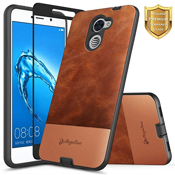 NageBee Huawei Ascend XT 2 Case (H1711), Huawei Elate 4G LTE w/ [Full  Coverage Tempered Glass Screen Protector] Snap-On Premium PU Cowhide  Leather