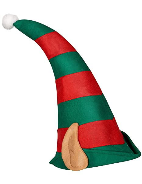 Cappello folletto di Babbo Natale con orecchie  Amazon.it  Giochi e ... 435fa3b1cd56