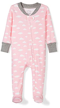 Moon and Back Girls Organic Footed Zip-Front Sleep and Play, Pink Cloud