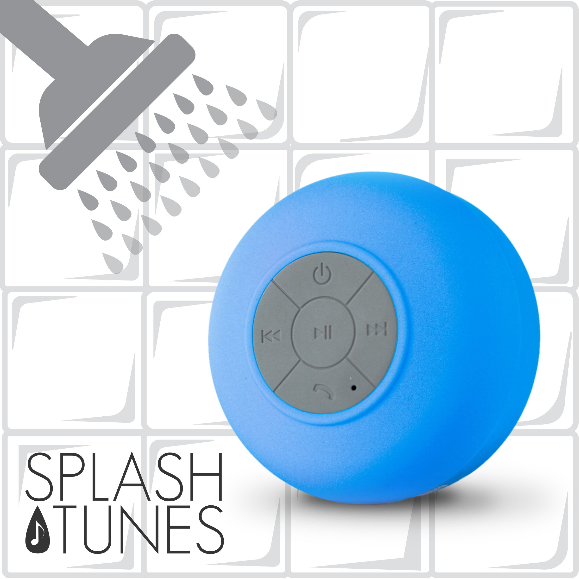 Splash Tunes Shower Speaker - Waterproof Bluetooth Hands-Free Shower Speaker with Built-In Mic and Suction Cup - Blue by FRESHeTECH