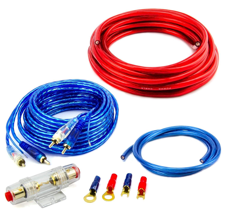 Watermark #CK-1000# - Set Completo di amplificazione per Auto con Cavo di Collegamento 10 m2 e connettore RCA