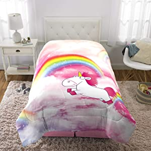 "Franco Kids Bedding Super Soft Microfiber Comforter, Twin Size 64"" x 86"", Fluffy Unicorn"