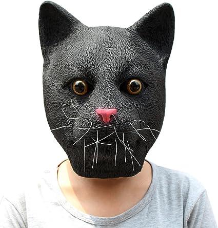 CreepyParty Deluxe Novelty Halloween Costume Party Latex Animal Cat Head Mask Black