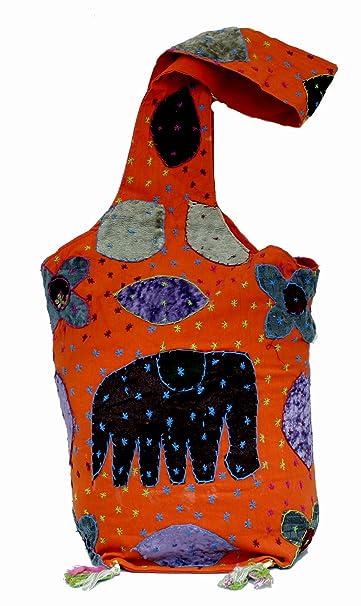Bolso bolso hecho a mano con bordados y trabajos de parches de hombro de algodon para mujer, color naranja: Amazon.es: Ropa y accesorios
