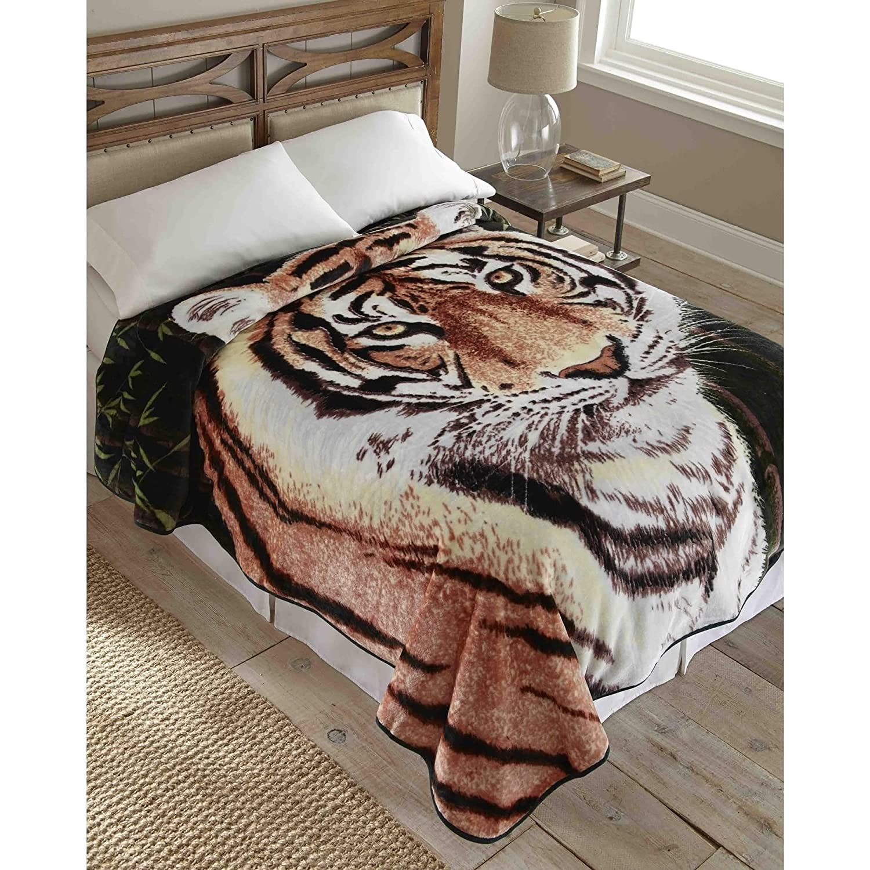 Shavelホーム製品Hi Pile Raschel Knit 90-inch Oversized Blanket Tiger B00WIRB86S
