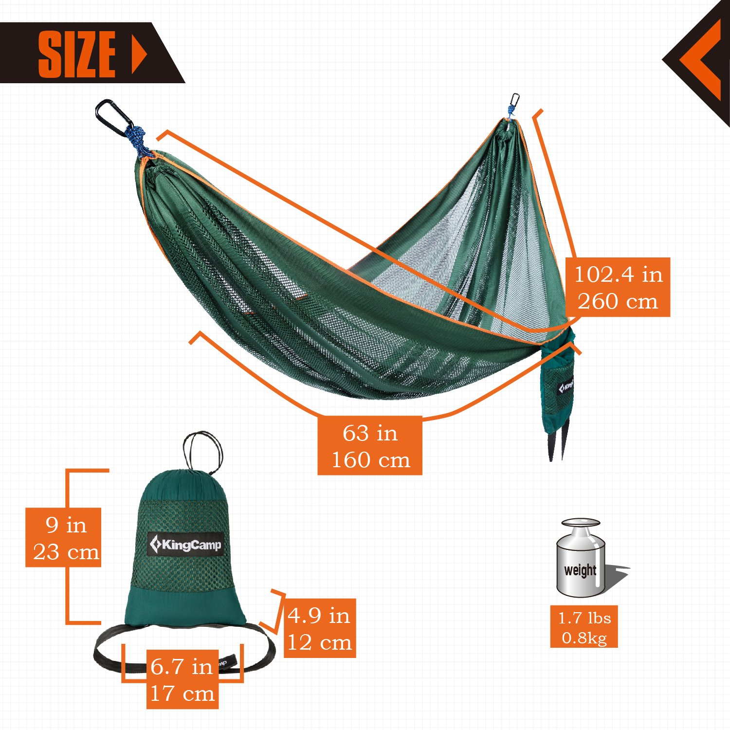 2 Tree Straps Included KingCamp Camping Hammock Breathable Lightweight Portable Cool Mesh Hammocks for Outdoor Patio,Tree Beach and Hiking