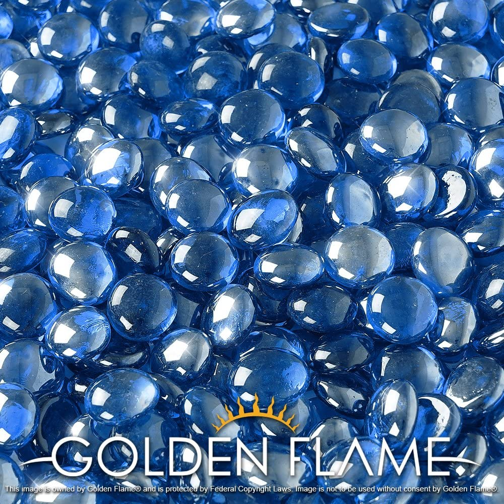 Golden Flame 20-Pound Fire Glass Fire-Drops 1//2-Inch Pacific Blue Reflective