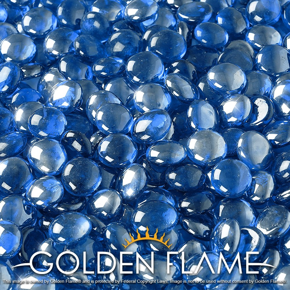 Golden Flame 10-Pound Fire Glass Fire-Drops 1/2-Inch Pacific Blue Reflective
