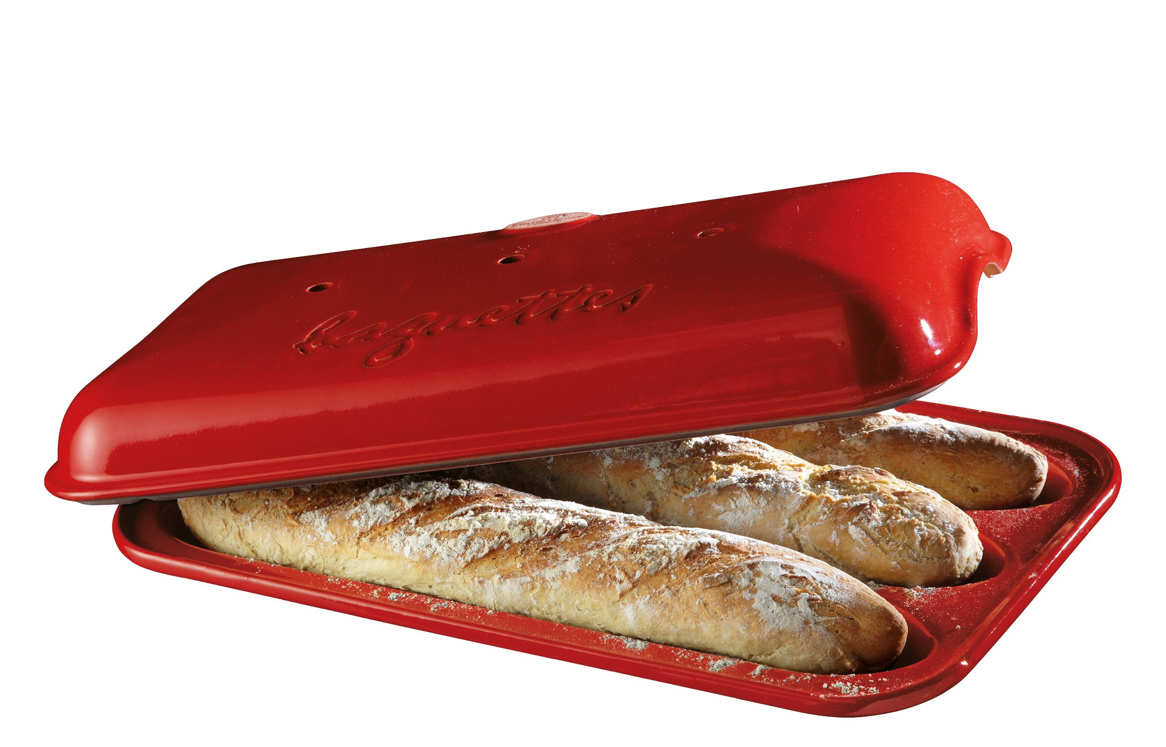 Emile Henry Made In France Flame Baguette Baker, 15.4 x 9.4'', Burgundy by Emile Henry